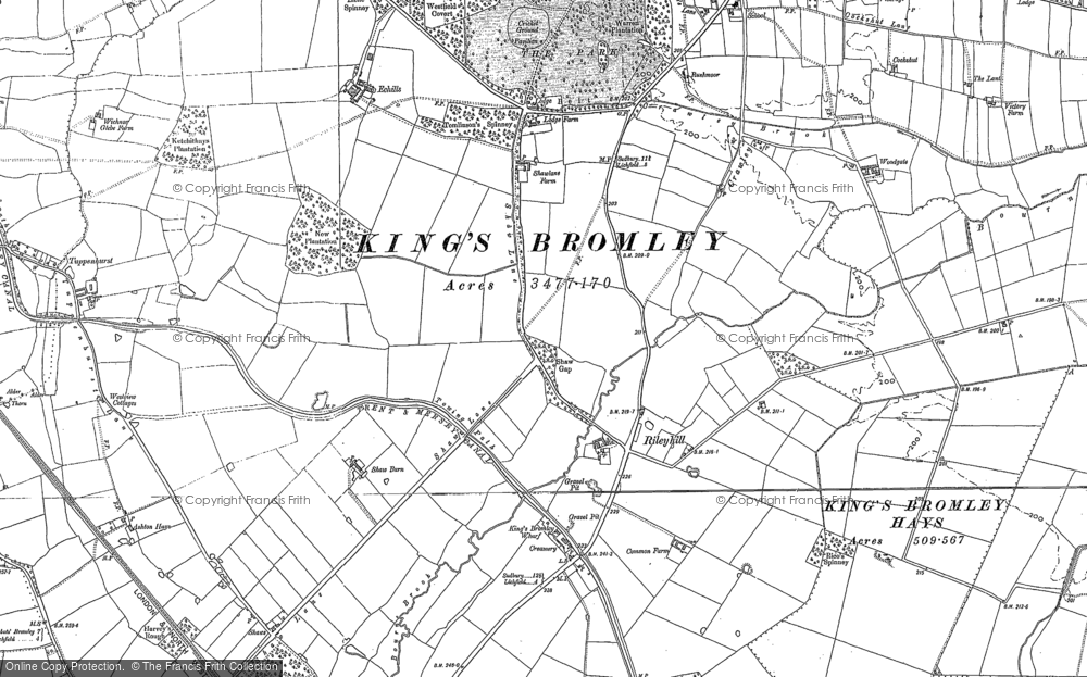 Old Map of Historic Map covering Alrewas Hayes in 1882