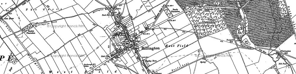 Old map of Rillington in 1889