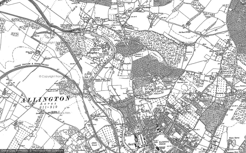 Old Map of Historic Map covering Allington Castle in 1895