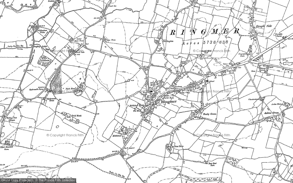 Old Map of Historic Map covering Ashton Green in 1897