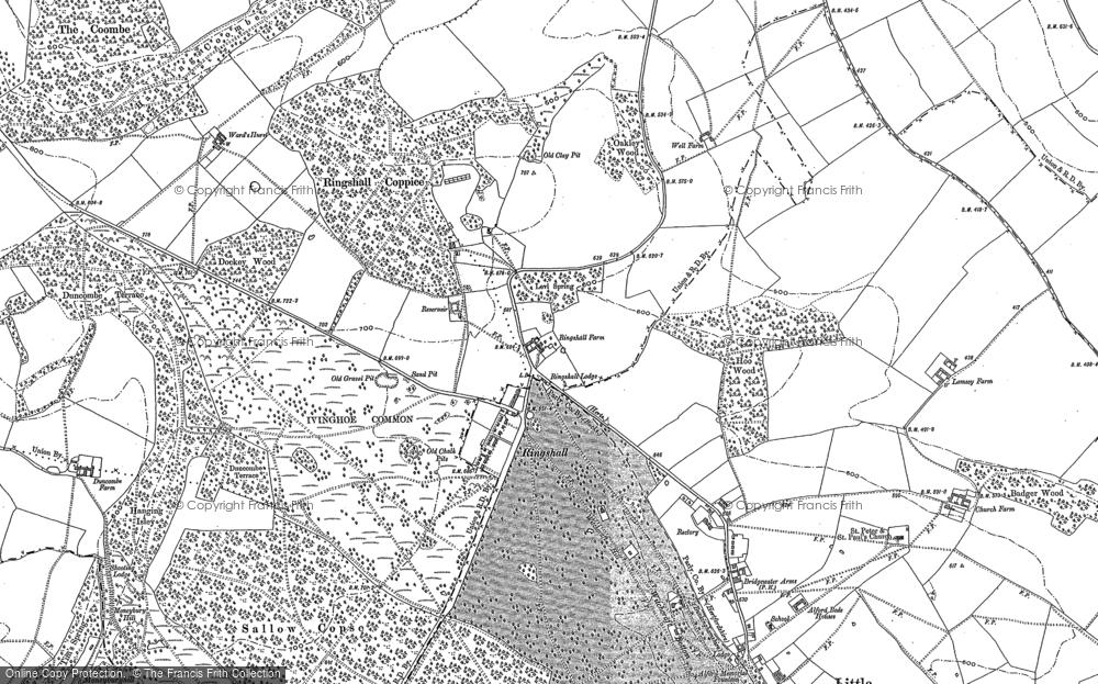 Old Map of Historic Map covering Aldbury Common in 1897