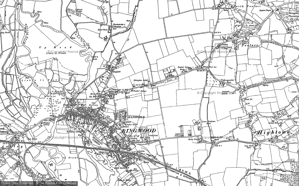 Old Map of Ringwood, 1908 in 1908