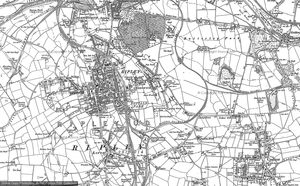 Old Map of Ripley, 1879 - 1880 in 1879