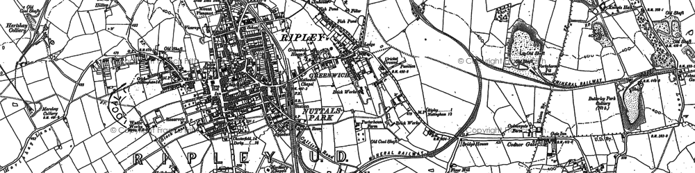 Old map of Ripley in 1879