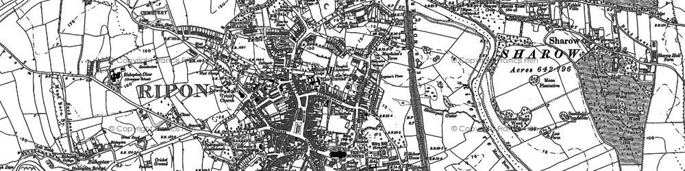 Old map of Ripon in 1890