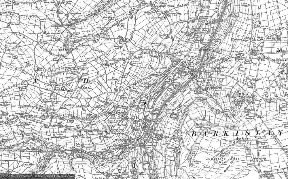 Old Map of Historic Map covering Baitings Pasture in 1892
