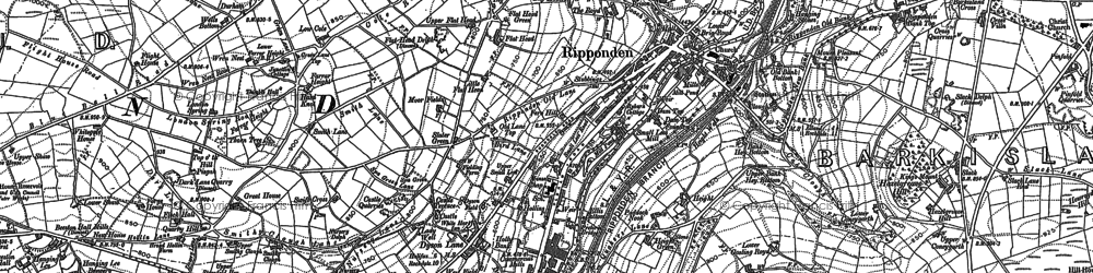 Old map of Ripponden in 1892