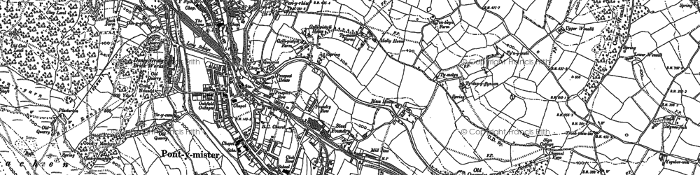 Old map of Risca in 1899