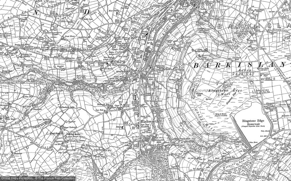 Old Map of Historic Map covering Baitings Resr in 1892