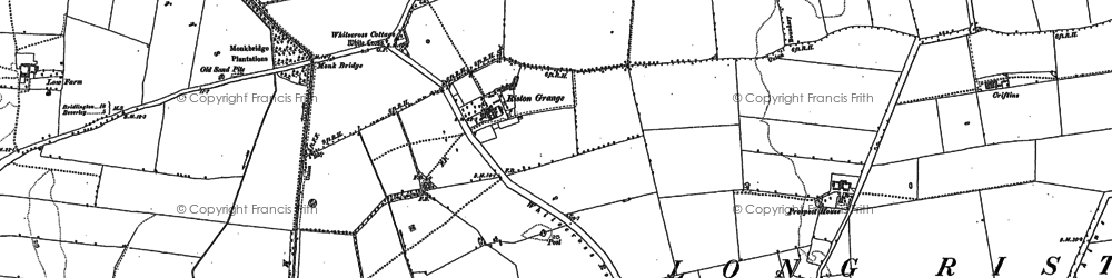 Old map of Riston Grange in 1889