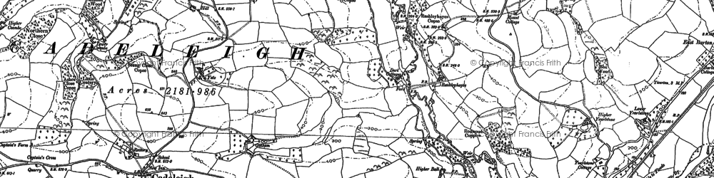 Old map of River Dart in 1885