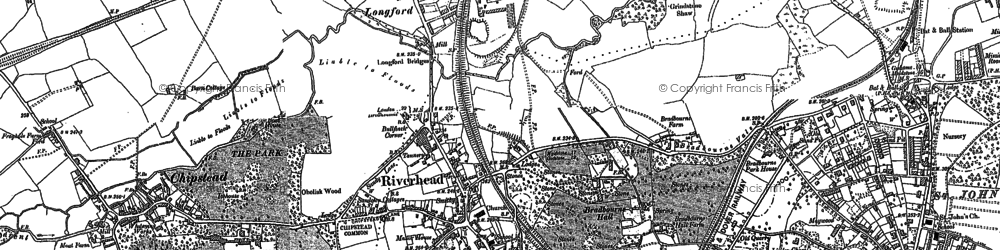 Old map of Riverhead in 1895
