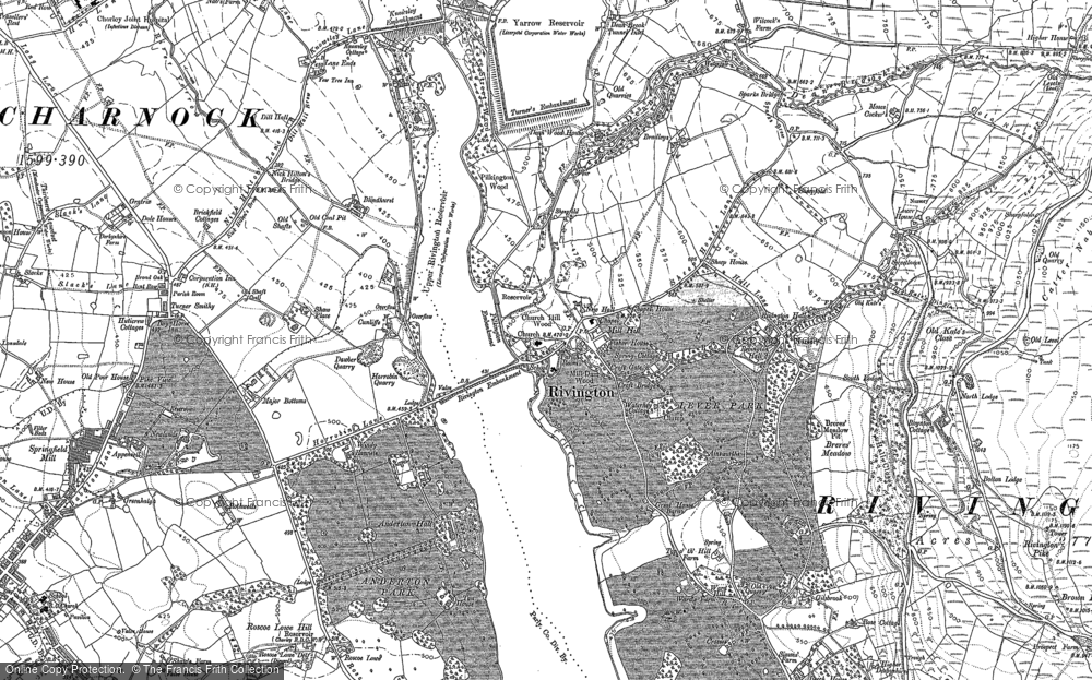 Old Map of Historic Map covering Alance Bridge in 1892