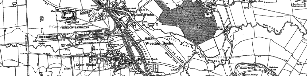 Old map of Road Weedon in 1883