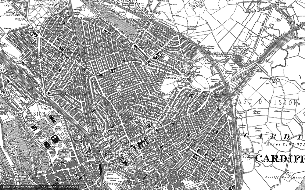 Old Map of Historic Map covering Cardiff in 1899