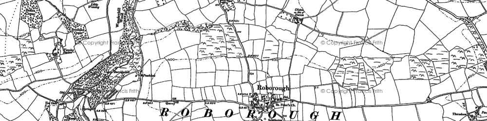 Old map of Whitsley Barton in 1886