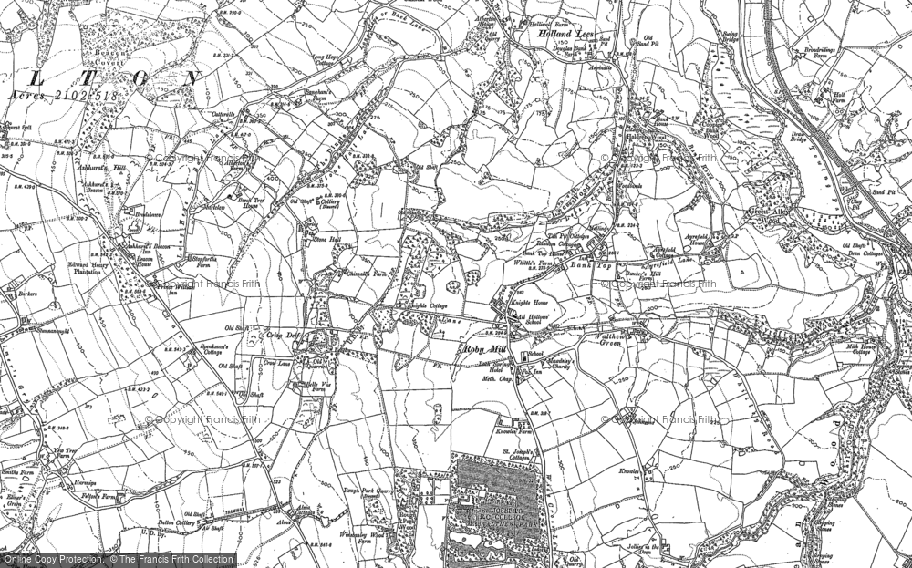 Old Map of Historic Map covering Bank Top in 1892