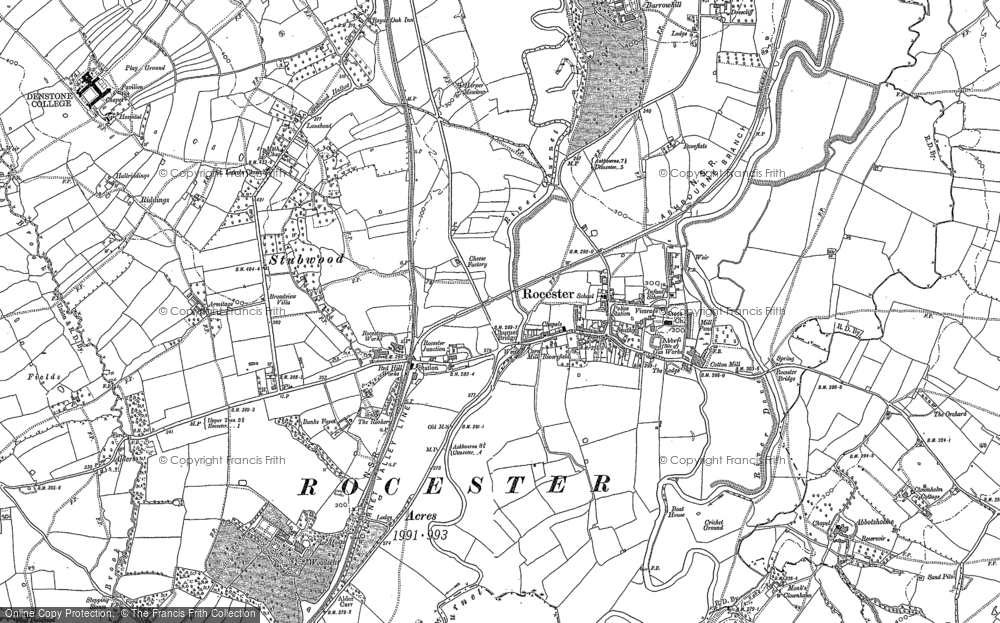Old Map of Historic Map covering Abbotsholme School in 1899