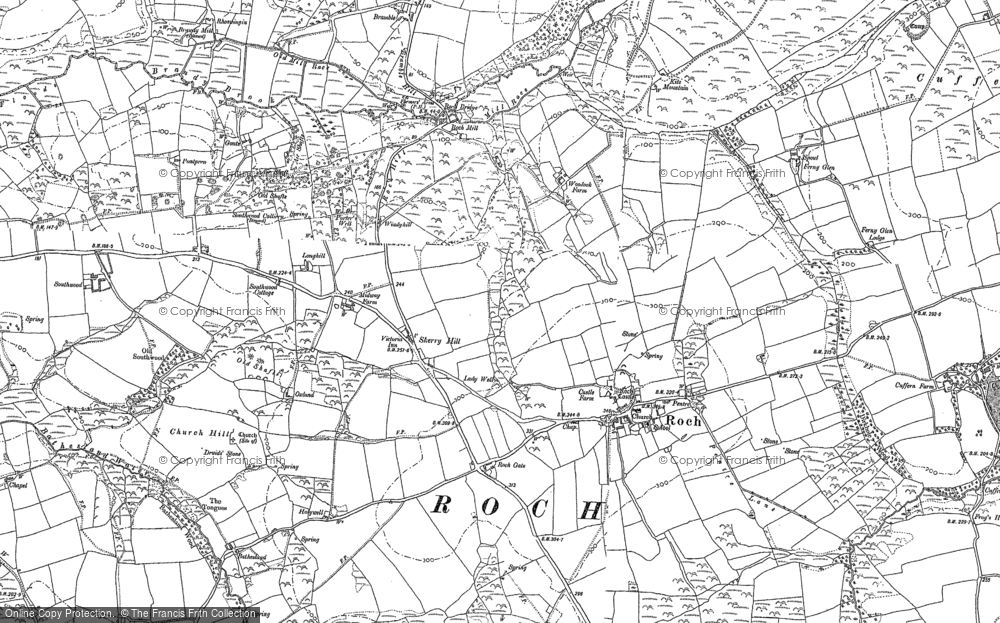 Old Map of Historic Map covering Woodhawk in 1887
