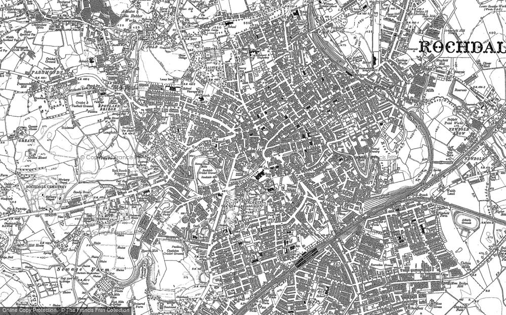 Map of Rochdale, 1890 - 1908