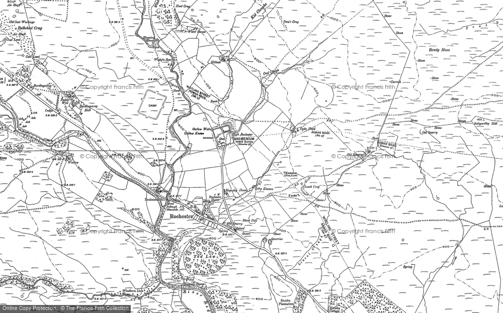 Old Map of Historic Map covering Ballyardley Hill in 1896