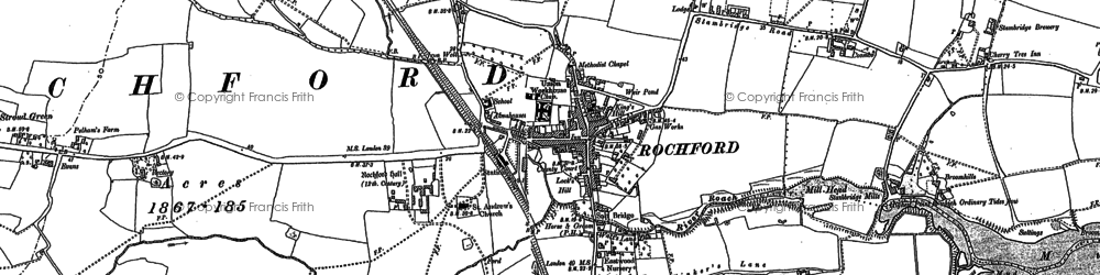 Old map of Rochford in 1895