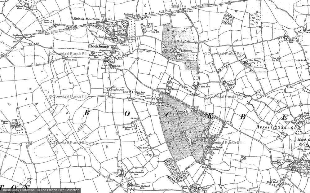 Old Map of Rockbeare, 1887 - 1888 in 1887