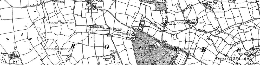 Old map of Rockbeare in 1887