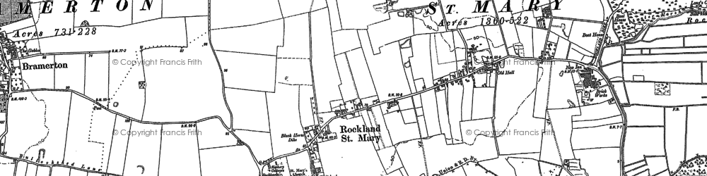 Old map of Rockland St Mary in 1881