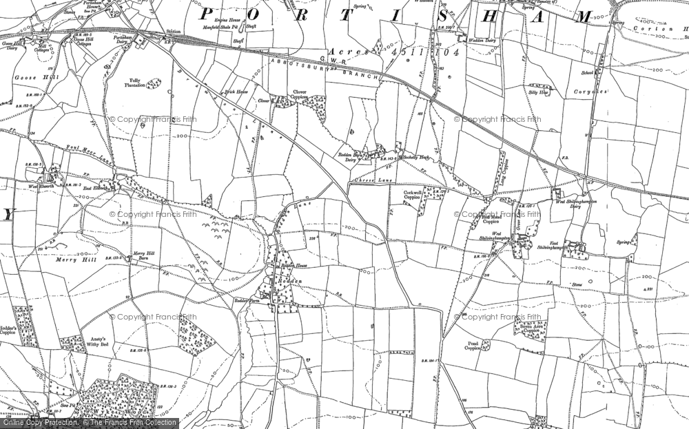 Old Map of Historic Map covering Wyke Wood in 1901