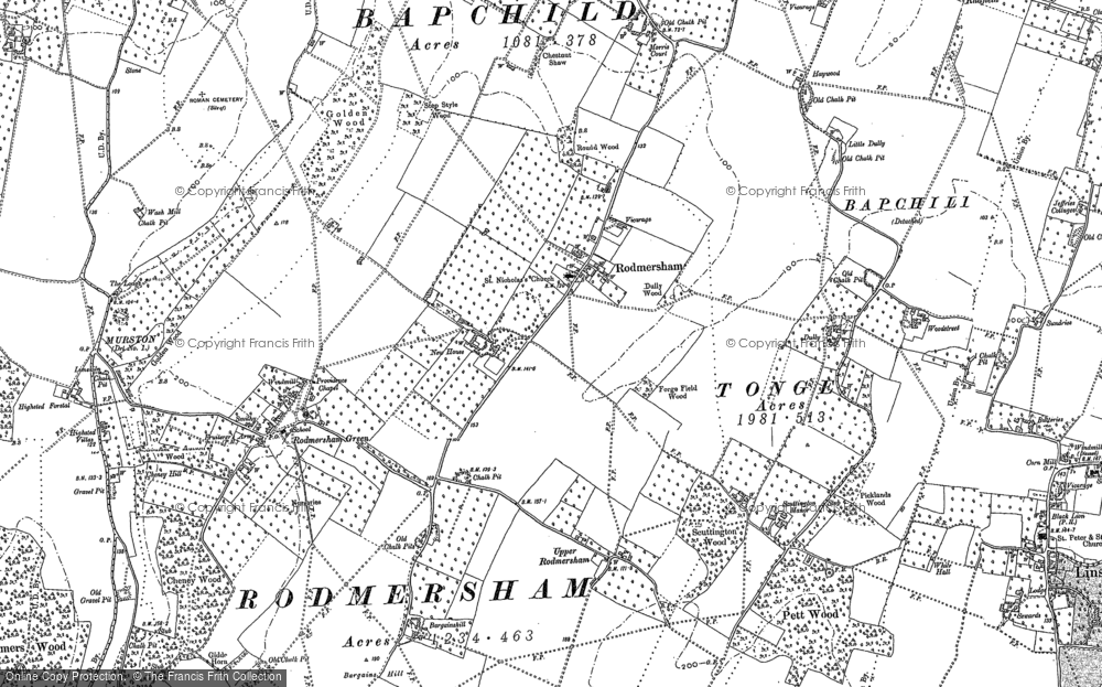 Old Map of Historic Map covering Bargains Hill in 1896