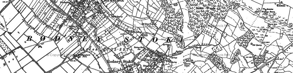 Old map of Rodney Stoke in 1884