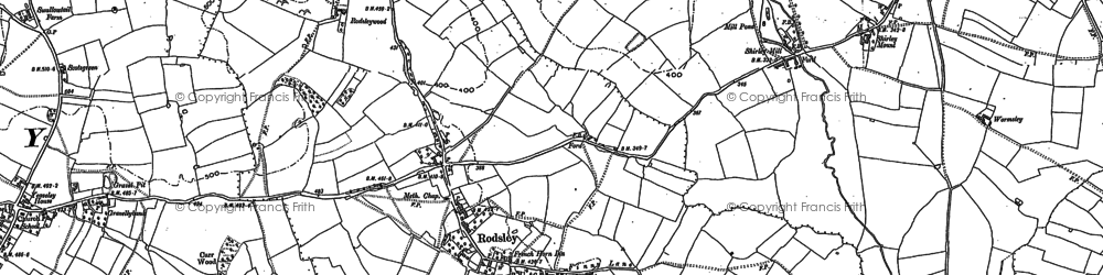 Old map of Rodsley in 1880