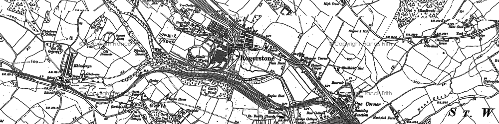 Old map of Cefn in 1899