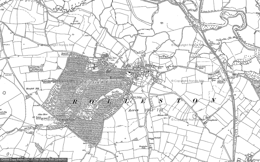 Old Map of Historic Map covering Alder Moor in 1885