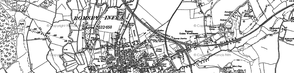 Old map of Romsey in 1895