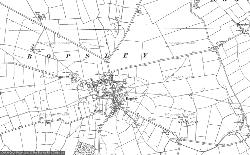 Old Map of Historic Map covering Abney Wood in 1885