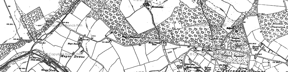 Old map of Roscroggan in 1878