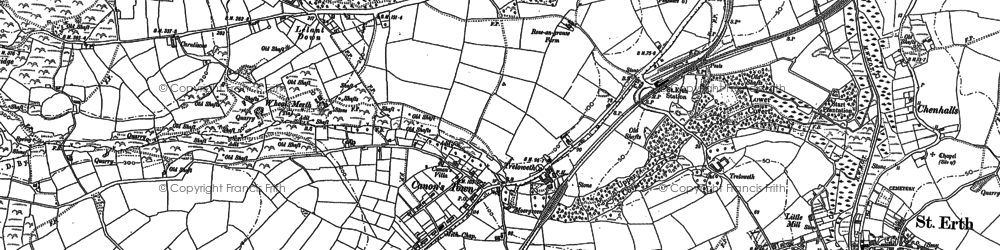 Old map of Rose-an-Grouse in 1877