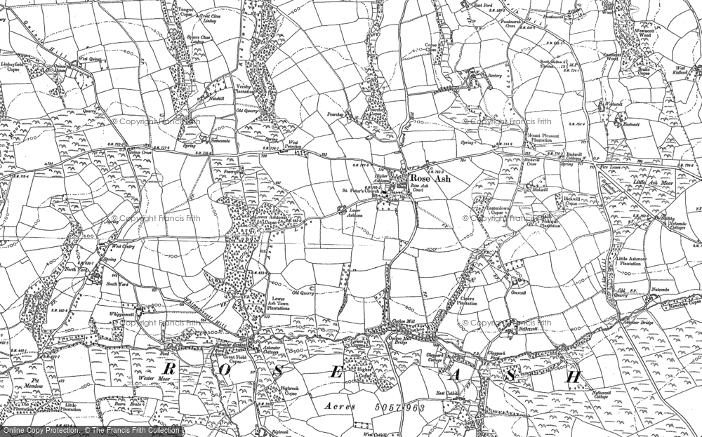Old Map of Historic Map covering Ash Moor in 1887