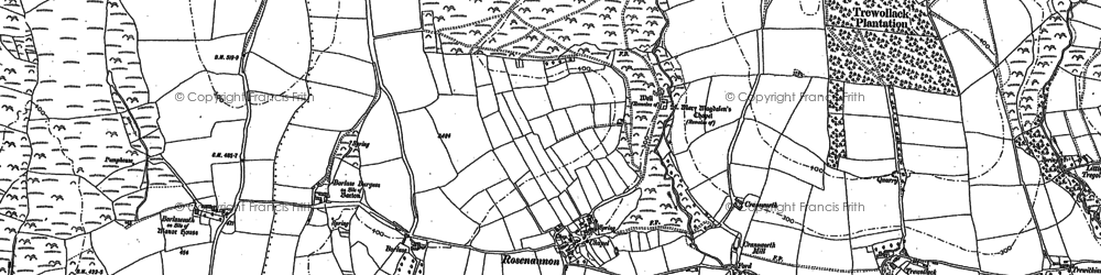 Old map of Rosenannon in 1880