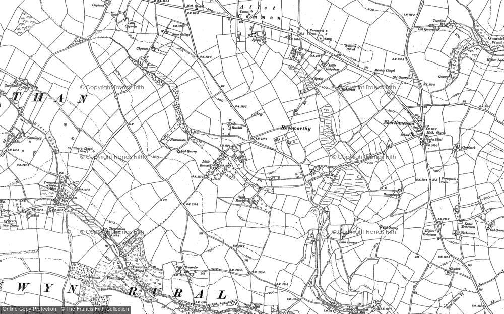 Old Map of Roseworthy, 1879 - 1886 in 1879