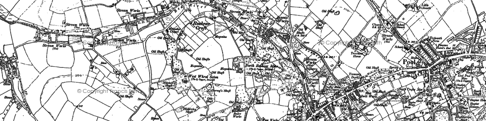 Old map of Roskear Croft in 1878