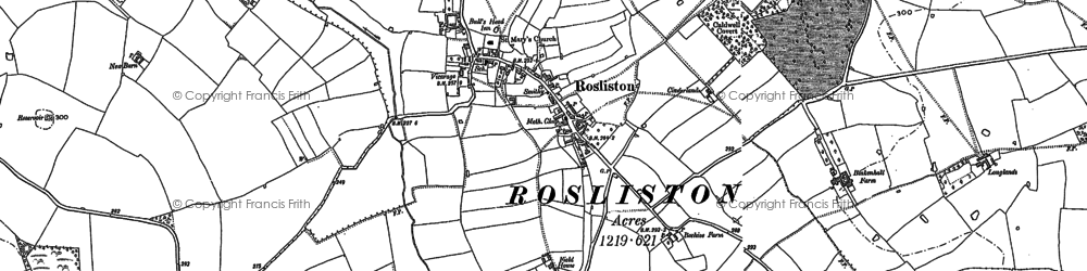Old map of Rosliston in 1900