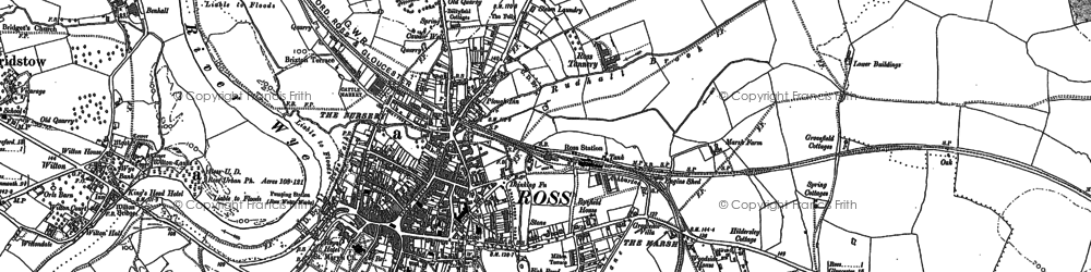 Old map of Ross-on-Wye in 1887