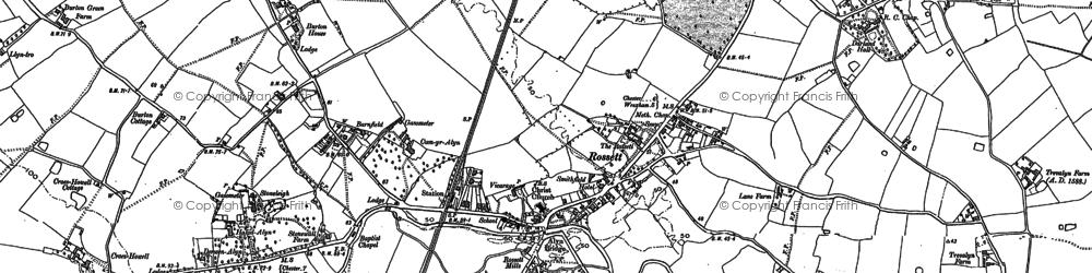 Old map of Rossett in 1909