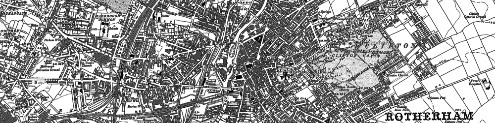 Old map of Rotherham in 1890