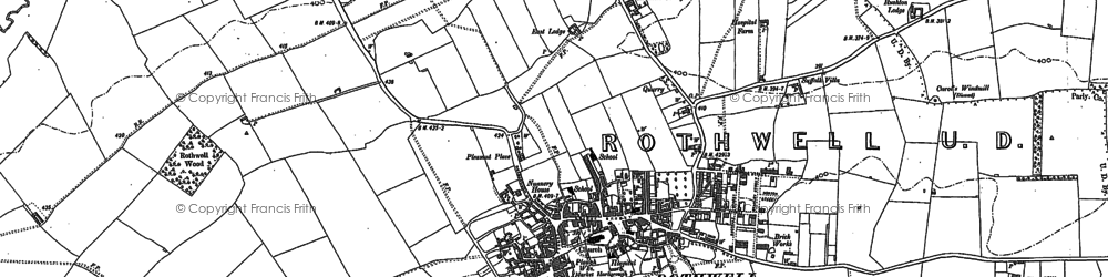 Old map of Rothwell in 1884
