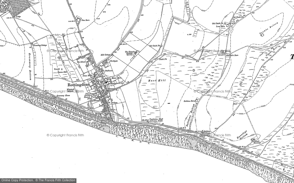 Old Map of Rottingdean, 1909 in 1909