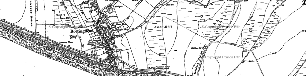 Old map of Rottingdean in 1909